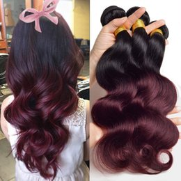Wholesale Two Tone Colored Hair Extension - 8A Brazilian Human Hair Weaves Burgundy Ombre Body Wave 3 Bundles Two Tone Colored 1B 99J Red Wine Ombre Wavy Hair Weft Extensions