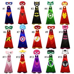 Wholesale Kids Super Hero Capes - 70*70CM Super hero Capes and mask set Superhero cosplay capes+mask Halloween cape mask for Kids 15 styles GOOG QUALITY