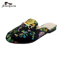 47c00818b5a8 slip school shoes NZ - STARFARM Women Mules Ethnic Satin Embroidery  Slippers Casual Flats Women Shoes