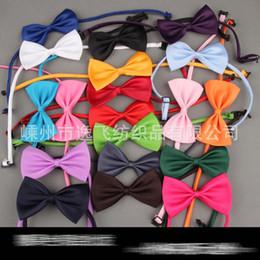 Wholesale Wedding Cravats - Children Baby Necktie Neck Ties Boys Girls Bow Silk Tie Candy Color School Tie Cravat Bowtie Kids Wedding Bow Ties 19 color E606