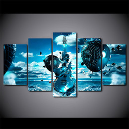 Wholesale Guitar Modern Art Painting - 5 Pcs Set HD Printed Frozen Guitar Artwork Wall Art Poster Picture Modern Framed Canvas Painting For Kid Room