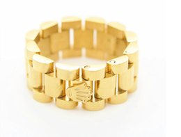 Wholesale 18k Gold Plated Ring Mens - 2017 new Luxury 10mm Top Quality Stainless Steel 18K Gold Plated Link Ring Hiphop Mens Watchband Style President Crown Band Ring Size 8-12
