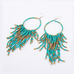 Wholesale Handmade Resin Beads - Vintage Bohemia Handmade Beaded Earrings Multilayer Tassels Bead Dangle Earrings Fashion Femal Jewelry Special Store DHE886