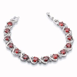 "Wholesale Bridal Presents - Rellecona Jewels Ruby Bridal Wedding Bracelets 18k White Gold Plated GP Bracelet 7"" Anniversary Gift Present Free Shipping"