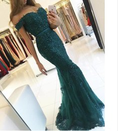 Wholesale Designer Evening Dressing - 2017 Designer Dark Green Off the Shoulder Sweetheart evening gowns Appliqued Beaded Short Sleeve Lace Mermaid Prom Dresses