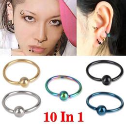 Wholesale Bead Hoop Earring - 10pcs Bead Ring Ball Hoop Eyebrow Nipple Nose Lip Earrings Body Piercing Jewelry