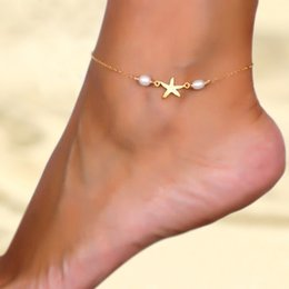 Wholesale ankle bracelet heart - Vintage Sexy Bowknot Foot Chain Women Bohemian Summer Ankle Pearl Starfish Anklet Beach Holiday Foot chain Anchor Elegant Anklet Bracelet