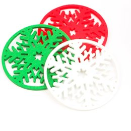 Wholesale Round Dinner Tables - Wholesale- 10pcs Christmas Snowflakes Cup Mat Dinner Party Non-woven Table Mat Coasters Dish Tray Pad Christmas Home Decoration Supplies