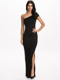Wholesale Unique Maxi Dresses - 2016 Unique design one shoulder sexy dress party evening elegant black dress floor-length bodycon fitness long dress free shipping