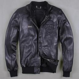 Herbst-2016 neue europäische Echtleder Männer stehen Baseball Uniform Männer Code Lederjacke kurze Jacke kurzen Mantel schwarz Schädel Mantel von Fabrikanten