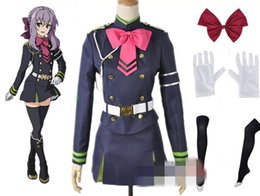 Wholesale Wig S - Anime Seraph of the End Shinoa Hiragi Cosplay Costume (Dress +Shirt+ Belt +Wig+Stockings+Gloves+ Necktie + Bowknot + Armband + String)