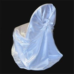 Wholesale Satin White Banquet Chair Cover - 2016 Wedding Universal Satin Chair Covers Multicolor Free Knot Cubed Colors Satin Color Chair Sets Banquet Chair Chair Covers Chair Sashes