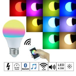 Wholesale Ios Color - E27 4.5W Bluetooth 4.0 Smart IOS Android App Control Lamp Wireless LED Light Bulb color change dimmable for home hotel