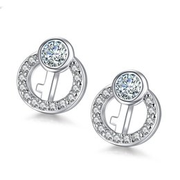 Wholesale Sterling Silver Key Earrings - 2017 New 925 Sterling Silver Women Small Earrings Fashion Key Design Luxury Crystal Stud Earrings Wholesale