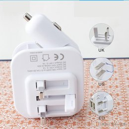 Wholesale Iphone 4s Charger Car Wall - Bullet Mini USB wall car chargers Universal uk adapters For iphone 5 4S 6 plus Cell Phone MP4 mobile i9500 S6 Htc LG