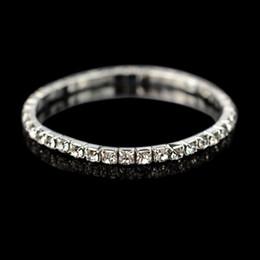 Wholesale P Charms - Charm Bracelet For Women Wedding Clear Rhinestone Crystal Bracelets & Bangles Gold Silver P Bling Wristband Elastic Bracelet