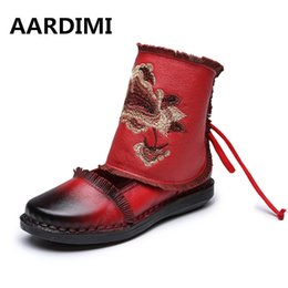 Wholesale Chinese Wedges Shoes - 2017 designer chinese style cow leather women boots autumn winter lace up genuine leather ankle boots casual women shoes