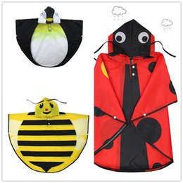 Wholesale Kids Rain Long Coat - Kids cartoon printing Raincoat Ladybird Penguin Bee pattern hooded rain cape 70X95cm boy girl cartoon waterproof coat animal cosplsy costume