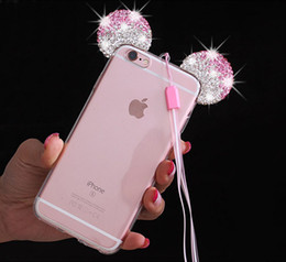 Wholesale Diamond Iphone Transparent - For iPhone7 3D Diamond Glitter Mickey Mouse Ears Soft Transparent Clear TPU Phone Cases Cover For iPhone 5 5S SE 6 6S 7 Plus iPhone6