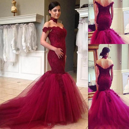 Wholesale Fancy Dress Pictures - Burgundy Mermaid Prom Dresses 2016 Lace Off The Shoulder Sweetheart Evening Gowns Tulle Appliques Open Back Long Elegant Fancy Pageant Dress