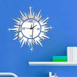Wholesale Sun Wall Clocks - 2016 Hot Mirror Sticker 3D Acrylic Wall Stickers Home Decor Europe Large Poster Kitchen Horse Sun Christmas Wall Clock