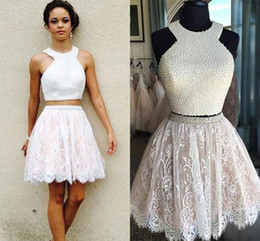 Wholesale Sexy Short Mini Nude Dress - Two Piece Pearls Lace Homecoming Dresses White Nude Short Homecoming Dresses Lovely Lace Short Prom Dresses Two-piece Party Gowns