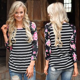 Wholesale Striped Shirt Womens - Sexy Womens Long 3 4 Sleeve Crewneck Shirt Boho Ladies Fashion Casual Rose Blouse Girls Loose Spliced Floral Striped Print T-shirt Tops