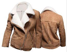 Wholesale Lamb Jacket For Men - 2015 Cold Winter Men Cool Thicken Jacket Suede Lamb Wool Warm Men Jacket Fashion Lapel Neck Overcoat For Men Two Colors J1002