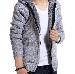 Wholesale Solid Color Hooded Cardigans - Brand New Fashion Men Jacket thick velvet cotton hooded fur jacket men's winter padded knitted casual sweater Cardigan coat Spring Outdoors