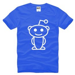 Wholesale Cute Aliens - WISHCART Cute Reddit Aliens Printed Men's T-Shirt T Shirt For Men 2016 New Short Sleeve O Neck Cotton Casual Top Tee Camisetas Hombre