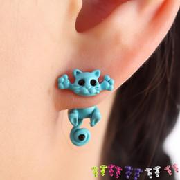 Wholesale Earrings For Pierced Ears - Fashion Kitten Animal Multiple Color Classic Cute Cat Puncture Ear Stud Piercing Earrings Crystal Alloy For Women Girls