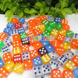 Wholesale transparent dice wholesale - 100pcs 16MM More 6 colors Dice Transparent point 1-6 automatic game KTV mahjong machine dice IVU