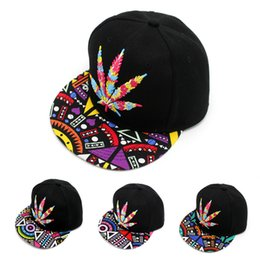 Wholesale Pot Leaf Wholesale - Fast Shipping 1 of Colorful Maple Leaf Baseball Hat Hip-hop Rasta Maple Leaf Pot Flat Pop Bill Snapback Baseball Cap 420 420pot cap