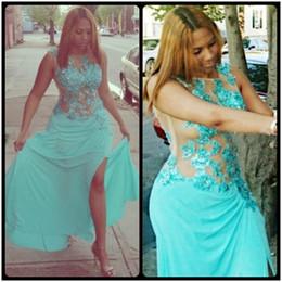 fivela de corpete de vestido de baile sexy Desconto Sexy Ilusão Bodice Side Slit Lace Appliqued Beads Chiffon Vestidos de Baile Longo 2017 Sereia Vestidos Formais