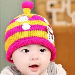 Wholesale Snow Cap Baby Girl - Child Girls Boys Warm Crochet Hats Toddlers Baby Kids Cartoon Ball Knited Crochet Snow Men Beanie Cap Winter Hat Caps ermz-a16-200
