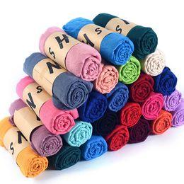 Wholesale Muslim Pashmina - Hot Sales 44 Colors Cotton Candy Color Pashmina Soft Shawl Wraps Female Literary Pure Linen Muslim Scarves