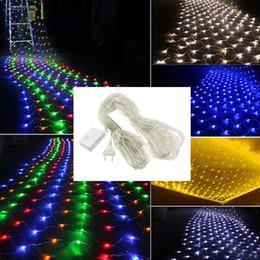 4 m de luz neta Rebajas Luces netas de navidad 1.5 * 1.5m 3 * 2m 6 * 4m 8 * 10m Lámpara de decoración para exteriores Luces festivas 110V / 220V