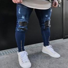 Wholesale Vintage Pants Men Plaid - Famous Brand Designer Slim Fit Ripped Jeans Men Hi-Street Mens Distressed Denim Joggers Knee Holes Washed Destroyed Jeans