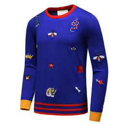 Wholesale Bee Stitched - Latest Snake Tiger Bee Flower Crown Men Sweaters Winter Autumn long sleeve pullover masculino male casual sweater knitwear M-3XL
