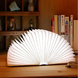 Wholesale Blue Wedding Cards - USB Rechargeable Wooden Folding LED Night Light Reading Book Light 500 Lumens Desk Lamp Red Blue Green Warm White Light Table Lamps