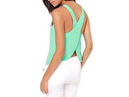 Wholesale Sleeveless Ladies Candy Color - Free Shipping 2016 Summer Style Women Blouses Candy Color Casual Lady Shirts Sexy Backless Strap Chiffon Blouse Tops PE1408*50