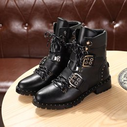 Wholesale Womens Genuine Leather Combat Boots - Buckle Lace up Womens Combat Boots Flat heel Brand Designer Leather Ankle Knight Boots Female