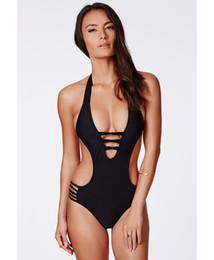 Wholesale Ms Wear - Body-Hugging Sexy Female One-Piece Swim Wear Sports Bandage Backless Beachwear Black And White Bikini Swimsuit Ms.