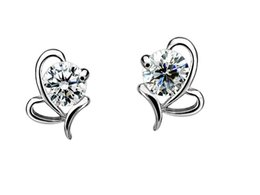 Wholesale Heart Shaped Diamond Earrings Studs - 925 sterling silver Butterfly heart-shaped Zircon Earrings Korea Europe for Women Wedding jewelry Factory price sales Not fade Gift box