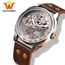 Wholesale Vintage Skeleton Automatic Watch - OUYAWEI Mechanical Vintage Watch Hollow Steampunk Style Brown Leather Band Antique Skeleton Mens Automatic Watch Reloj Hombre