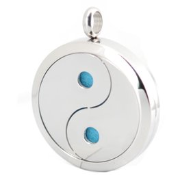 Wholesale yin yang pendants - Yin Yang Taiji Silver 30mm silver magnet Aromatherapy Essential Oil surgical Stainless Steel Perfume Diffuser Locket Necklace with chain