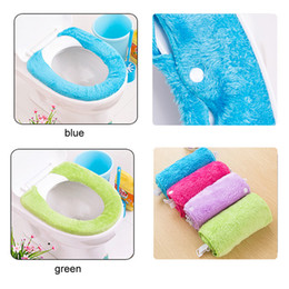 Wholesale Toilet Seat Covers Warmer - Pure Color Wool Type Warm Plush Toilet Seat Cover Toilet Seat Pad Bathroom Seat Lid Cover Pad Closestool Seat Cover