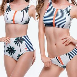 Wholesale Plus Size Women Swim Tops - 2016 New Sexy Palm Tree Bikini Women Swimsuit High Waisted Bathing Suits Swim Halter Top Push Up Bikini Set Beach Plus Size Swimwear
