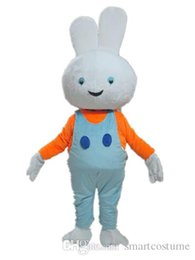 Wholesale White Bunny Mascot - SX0728 Good quality a white bunny mascot costume with orange shirt and blue suspender pants for sale
