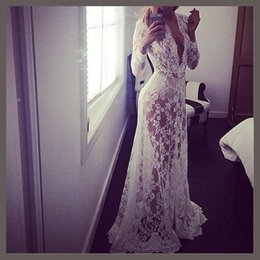 Wholesale Womens Dress Maxi Asymmetrical - Hot 2016 Summer European Style Womens Sexy Lace Embroidery Maxi Solid White And Black Dress Long Sleeve Deep V-Neck Vestidos Plus Size S-4XL